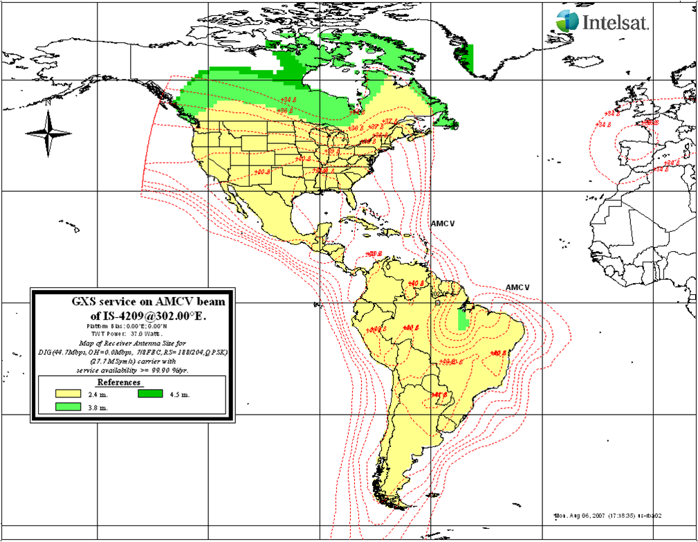 on dish satellite map